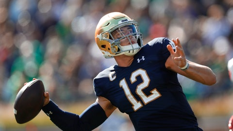 <p>               Notre Dame quarterback Ian Book throws in the first half of an NCAA college football game against New Mexico in South Bend, Ind., Saturday, Sept. 14, 2019. (AP Photo/Paul Sancya)             </p>