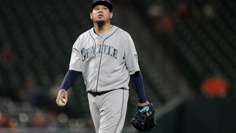 <p>               Seattle Mariners starting pitcher Felix Hernandez looks on between batters during the first inning of a baseball game against the Baltimore Orioles, Friday, Sept. 20, 2019, in Baltimore. (AP Photo/Julio Cortez)             </p>