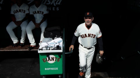 <p>               San Francisco Giants manager Bruce Bochy walks into the dugout before a baseball game between the Giants and the Los Angeles Dodgers in San Francisco, Sunday, Sept. 29, 2019. (AP Photo/Jeff Chiu)             </p>