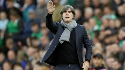 <p>               Germany coach Joachim Loew gestures during the Euro 2020 group C qualifying soccer match between Northern Ireland and Germany at Windsor Park, Belfast, Northern Ireland, Monday, Sept. 9, 2019. (AP Photo/Peter Morrison)             </p>