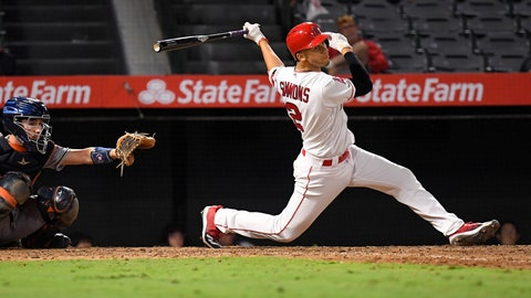 <p>               Los Angeles Angels' Andrelton Simmons, right, hits a walk-off single during the 12th inning of a baseball game against the Houston Astros Thursday, Sept. 26, 2019, in Anaheim, Calif. (AP Photo/Mark J. Terrill)             </p>