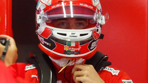<p>               Ferrari driver Charles Leclerc of Monaco stands at the pit during the first free practice at the Monza racetrack, in Monza, Italy, Friday, Sept. 6, 2019. The Formula one race will be held on Sunday. (AP Photo/Antonio Calanni)             </p>