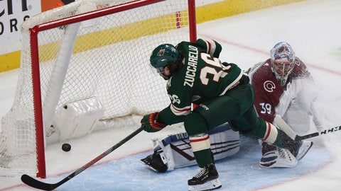 <p>               Minnesota Wild's Mats Zuccarello scores against Colorado Avalanche's goalie Pavel Francouz during the third period of an NHL preseason hockey game Saturday, Sept. 21, 2019, in St. Paul, Minn. (AP Photo/Stacy Bengs)             </p>