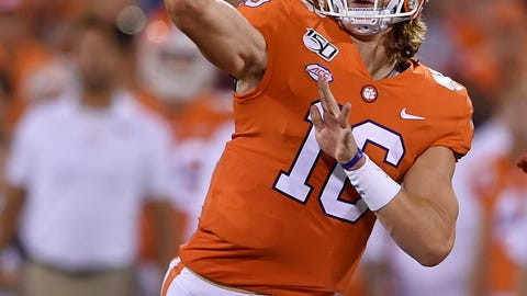 <p>               Clemson quarterback Trevor Lawrence throws a pass during the first half of the team's NCAA college football game against Charlotte on Saturday, Sept. 21, 2019, in Clemson, S.C. (AP Photo/Richard Shiro)             </p>