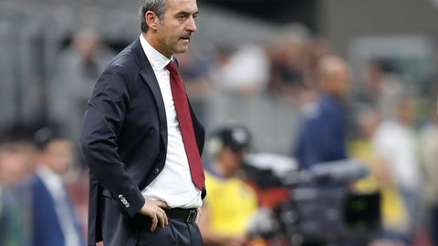 <p>               AC Milan's manager Marco Giampaolo follows the game during a Serie A soccer match between AC Milan and Fiorentina, at the San Siro stadium in Milan, Italy, Sunday, Sept. 29, 2019. (AP Photo/Antonio Calanni)             </p>