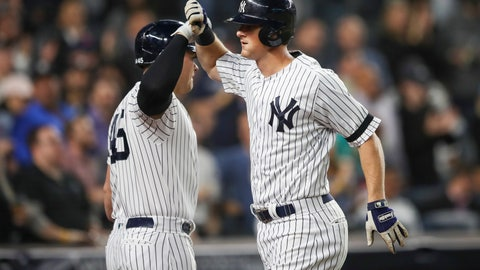 <p>               New York Yankees' DJ LeMahieu celebrates with Luke Voit after hitting a three run home run during the second inning of a baseball game against the Los Angeles Angels, Thursday, Sept. 19, 2019, in New York. (AP Photo/Mary Altaffer)             </p>