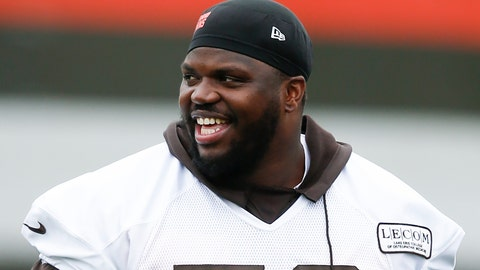 <p>               FILE - In this May 22, 2019, file photo, Cleveland Browns' Greg Robinson walks off the field during an NFL football organized team activity session at the team's training facility in Berea, Ohio. Browns starting left tackle Greg Robinson has re-signed with the team Monday, Sept. 2, 2019, a day after his contract was surprisingly terminated. (AP Photo/Ron Schwane, File)             </p>