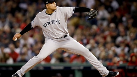 <p>               FILE - In this Oct. 6, 2018, file photo, New York Yankees relief pitcher Dellin Betances throws against the Boston Red Sox during the sixth inning of Game 2 of a baseball American League Division Series in Boston. Betances' season appears over after just eight pitches. The Yankees say the reliever partially tore the Achilles tendon in his left foot when he hopped on the mound after striking out Brandon Drury, the second and final batter he faced in his season debut at Toronto. (AP Photo/Charles Krupa, File)             </p>