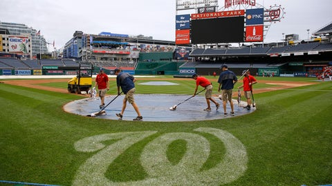 <p>               Groundskeepers remove rainwater from a tarp covering home plate during a baseball workout session, Monday, Sept. 30, 2019, in Washington. The Washington Nationals are scheduled to host the Milwaukee Brewers in a National League wild card game Tuesday, Oct. 1. (AP Photo/Patrick Semansky)             </p>