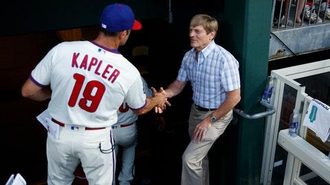 <p>               Philadelphia Phillies principle owner John S. Middleton, right, greets manager Gabe Kapler after a baseball game against the Miami Marlins, Sunday, Sept. 29, 2019, in Philadelphia. (AP Photo/Matt Slocum)             </p>