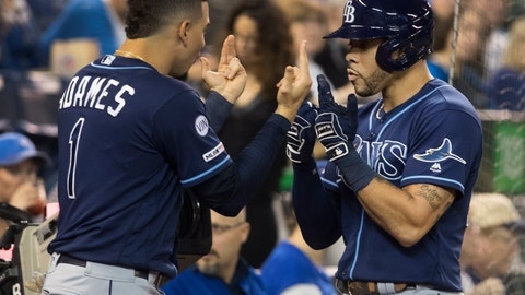 <p>               Tampa Bay Rays' Tommy Pham, right, is greeted by Willy Adames (1) after he hit a two-run home run against the Toronto Blue Jays in the third inning of a baseball game in Toronto on Friday, Sept. 27, 2019. (Fred Thornhill/The Canadian Press via AP)             </p>