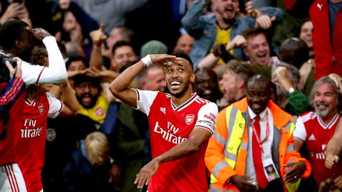<p>               Arsenal's Pierre-Emerick Aubameyang celebrates scoring against Aston Villa during the English Premier League soccer match at the Emirates Stadium, London, Sunday Sept. 22, 2019. (Steven Paston/PA via AP)             </p>