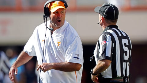 <p>               Tennessee head coach Jeremy Pruitt yells at side judge Eduardo Balbis in the first half of an NCAA college football game against Georgia State, Saturday, Aug. 31, 2019, in Knoxville, Tenn. (AP Photo/Wade Payne)             </p>