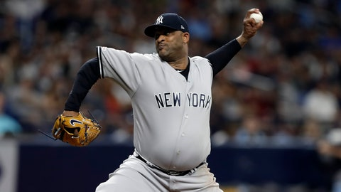 <p>               New York Yankees pitcher CC Sabathia delivers to the Tampa Bay Rays during the fourth inning of a baseball game Tuesday, Sept. 24, 2019, in St. Petersburg, Fla. (AP Photo/Chris O'Meara)             </p>