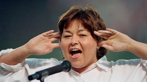 <p>               FILE - In this July 25, 1990, file photo, comedienne Roseanne Barr holds her fingers in her ears as she screams the National Anthem between games of the San Diego Padres and the Cincinnati Reds doubleheader in San Diego, Calif. A Delaware school district played a parody version of the national anthem before a volleyball match, surprising spectators with Barr's screeching 1990s rendition. The News Journal of Wilmington reports the Seaford School District apologized Wednesday, Sept. 25, 2019, for the shock at its Tuesday game with Milford High. Superintendent David Perrington says pre-game proceedings will be improved. Officials didn't say how Barr's version, performed before a San Diego Padres game, came to be used. (AP Photo/Joan Fahrenthold, File)             </p>