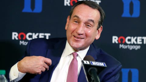 <p>               Duke's Mike Krzyzewski laughs while speaking during an NCAA college basketball media day at Cameron Indoor Stadium in Durham, N.C., Monday, Sept. 23, 2019. (Ethan Hyman/The News & Observer via AP)             </p>
