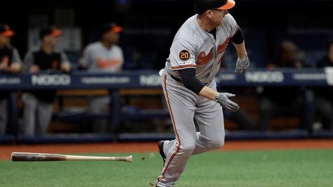 <p>               Baltimore Orioles' Mark Trumbo watches his RBI double off Tampa Bay Rays relief pitcher Hoby Milner during the ninth inning of the first baseball game of a doubleheader Tuesday, Sept. 3, 2019, in St. Petersburg, Fla. (AP Photo/Chris O'Meara)             </p>