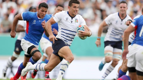 <p>               Italy's Tommaso Allan carries the ball against Namibia during the Rugby World Cup Pool B game between Italy and Namibia in Osaka, western Japan, Sunday, Sept. 22, 2019. (Yohei Fukuyama/Kyodo News via AP)             </p>