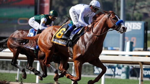 <p>               FILE - In this April 7, 2018, file photo, Justify, ridden by Mike Smith, gallops past Bolt d'Oro, left, with jockey Javier Castellano, during the Santa Anita Derby horse race at Santa Anita in Arcadia, Calif. Justify won the race, and Bolt d'Oro came in second. The New York Times says Justify won the 2018 Triple Crown after a failed postrace drug test at Santa Anita that could have kept the horse out of the Kentucky Derby. The newspaper reported Wednesday, Sept. 11, 2019, that Bob Baffert-trained Justify tested positive for the drug scopolamine after winning the Santa Anita Derby. Justify went on to win the Derby and took the Preakness and Belmont stakes to complete the Triple Crown. (AP Photo/Jae C. Hong, File)             </p>