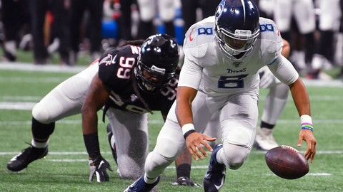 <p>               Tennessee Titans quarterback Marcus Mariota (8) works to recover his fumble against the Atlanta Falcons during the second half of an NFL football game, Sunday, Sept. 29, 2019, in Atlanta. (AP Photo/John Amis)             </p>