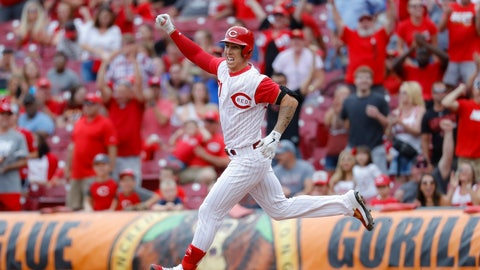 <p>               Cincinnati Reds' Michael Lorenzen runs the bases after hitting a game-winning RBI double off Arizona Diamondbacks relief pitcher T.J. McFarland in the ninth inning of a baseball game, Sunday, Sept. 8, 2019, in Cincinnati. (AP Photo/John Minchillo)             </p>