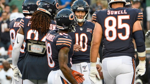<p>               Chicago Bears' Mitchell Trubisky warms up before an NFL football game against the Green Bay Packers Thursday, Sept. 5, 2019, in Chicago. (AP Photo/David Banks)             </p>