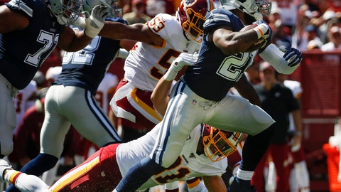 <p>               Dallas Cowboys running back Ezekiel Elliott (21) breaks away from Washington Redskins outside linebacker Ryan Kerrigan (91) in the first half of an NFL football game, Sunday, Sept. 15, 2019, in Landover, Md. (AP Photo/Alex Brandon)             </p>