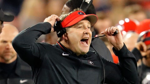 <p>               FILE - In this Nov. 17, 2018, file photo, Georgia head coach Kirby Smart reacts on the sideline during the second half of an NCAA college football game against Massachusetts in Athens, Ga. Notre Dame and Georgia. Two of college football's most storied programs meet for the first time in one of its most famed settings, a game that already feels special because of its historic ramifications but is also likely to have a huge impact on this year's race to the College Football Playoff.  (AP Photo/John Bazemore, File)             </p>
