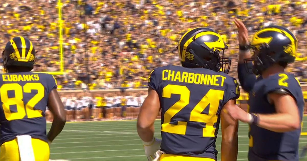 size 40 d2aae fed8b Michigan's fake punt results in Zach Charbonnet's first career touchdown