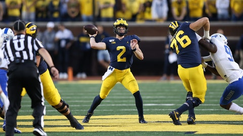 ANN ARBOR, MI - AUGUST 31:  Michigan Wolverines quarterback Shea Patterson (2) throws a pass during a non-conference game between the Middle Tennessee State Blue Raiders and the Michigan Wolverines on August 31, 2019 at Michigan Stadium in Ann Arbor, Michigan. Michigan defeated Middle Tennessee State 40-21.  (Photo by Scott W. Grau/Icon Sportswire via Getty Images)