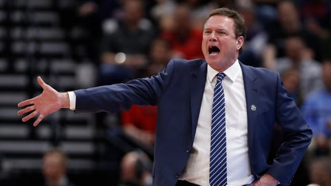 FILE - In this March 21, 2019, file photo, Kansas head coach Bill Self reacts in the first half during a first round men's college basketball game against Northeastern in the NCAA Tournament in Salt Lake City. A person familiar with the situation says the University of Kansas received a notice of allegations from the NCAA on Monday, Sept. 23, 2019, that alleges significant violations within its storied men's basketball program. The person spoke to The Associated Press on condition of anonymity because neither the NCAA nor the school had announced the notice, which was first reported by Yahoo Sports. That initial report, citing unnamed sources, said the notice included three Level 1 violations tied primarily to recruiting, lack of institutional control and a responsibility charge leveled against Hall of Fame coach Self. (AP Photo/Jeff Swinger, File)