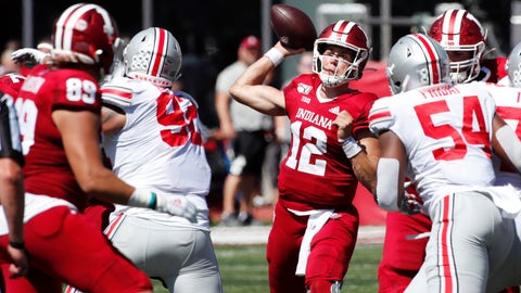Sep 14, 2019; Bloomington, IN, USA; Indiana Hoosiers quarterback Peyton Ramsey (12) throws a pass against the Ohio State Buckeyes during the third quarter at Memorial Stadium . Mandatory Credit: Brian Spurlock-USA TODAY Sports