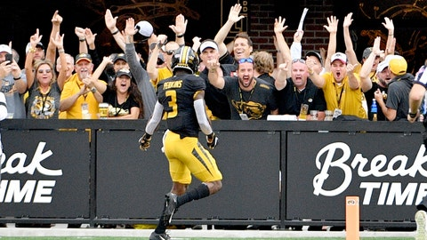 Sep 21, 2019; Columbia, MO, USA; Missouri Tigers safety Ronnell Perkins (3) celebrates with fans after his interception and 100 yard runback for a touchdown during the second half against the South Carolina Gamecocks at Memorial Stadium/Faurot Field. Mandatory Credit: Denny Medley-USA TODAY Sports