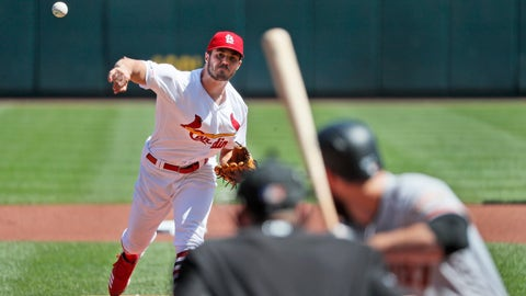 St. Louis Cardinals starting pitcher Dakota Hudson throws during the first inning of a baseball game against the San Francisco Giants Thursday, Sept. 5, 2019, in St. Louis. (AP Photo/Jeff Roberson)