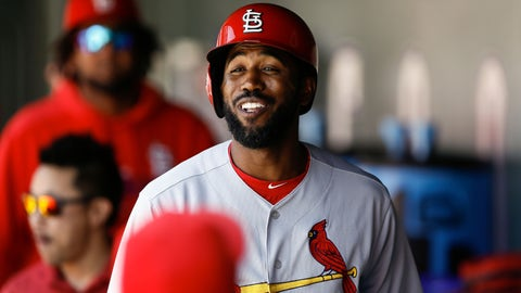 Sep 12, 2019; Denver, CO, USA; St. Louis Cardinals right fielder Dexter Fowler (25) reacts in the dugout after hitting a solo home run in the first inning against the Colorado Rockies at Coors Field. Mandatory Credit: Isaiah J. Downing-USA TODAY Sports