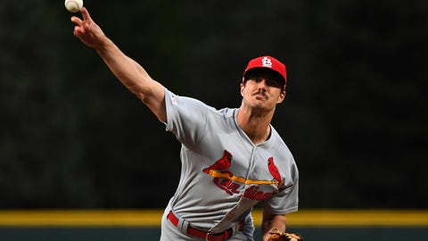 Sep 11, 2019; Denver, CO, USA; St. Louis Cardinals starting pitcher Dakota Hudson (43) delivers a pitch in the first inning against the Colorado Rockies at Coors Field. Mandatory Credit: Ron Chenoy-USA TODAY Sports
