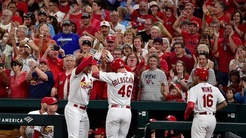 Sep 13, 2019; St. Louis, MO, USA; St. Louis Cardinals first baseman Paul Goldschmidt (46) is congratulated by Jack Flaherty (22) after hitting a grand slam off of Milwaukee Brewers starting pitcher Adrian Houser (not pictured) during the third inning at Busch Stadium. Mandatory Credit: Jeff Curry-USA TODAY Sports