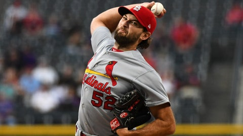 Sep 10, 2019; Denver, CO, USA; St. Louis Cardinals starting pitcher Michael Wacha (52) delivers a pitch in the first inning against the Colorado Rockies at Coors Field. Mandatory Credit: Ron Chenoy-USA TODAY Sports