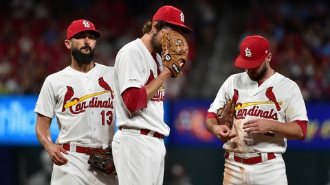Sep 27, 2019; St. Louis, MO, USA; St. Louis Cardinals relief pitcher Andrew Miller (21) reacts on the mound after allowing four runs during the seventh inning against the Chicago Cubs at Busch Stadium. Mandatory Credit: Jeff Curry-USA TODAY Sports