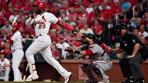 Sep 16, 2019; St. Louis, MO, USA; St. Louis Cardinals left fielder Marcell Ozuna (23) hits a two run home run off of Washington Nationals starting pitcher Stephen Strasburg (not pictured) during the first inning at Busch Stadium. Mandatory Credit: Jeff Curry-USA TODAY Sports