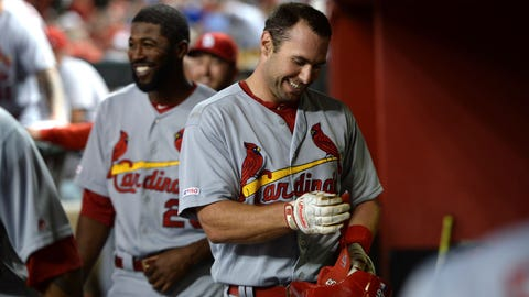 Sep 23, 2019; Phoenix, AZ, USA; St. Louis Cardinals first baseman Paul Goldschmidt (46) celebrates in the dugout after hitting a two run home run against the Arizona Diamondbacks during the third inning at Chase Field. Mandatory Credit: Joe Camporeale-USA TODAY Sports