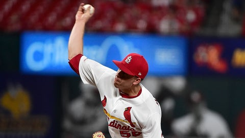 Sep 17, 2019; St. Louis, MO, USA; St. Louis Cardinals relief pitcher Ryan Helsley (56) pitches during the eighth inning against the Washington Nationals at Busch Stadium. Mandatory Credit: Jeff Curry-USA TODAY Sports