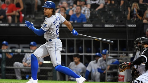 Sep 11, 2019; Chicago, IL, USA; Kansas City Royals shortstop Adalberto Mondesi (27) hits a single against the Chicago White Sox during the first inning at Guaranteed Rate Field. Mandatory Credit: Mike DiNovo-USA TODAY Sports