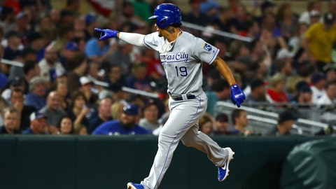 Sep 21, 2019; Minneapolis, MN, USA; Kansas City Royals third baseman Cheslor Cuthbert (19) celebrates after hitting a two-run home run against the Minnesota Twins in the ninth inning at Target Field. Mandatory Credit: David Berding-USA TODAY Sports