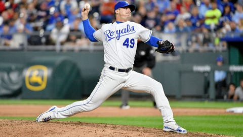 Sep 25, 2019; Kansas City, MO, USA; Kansas City Royals relief pitcher Heath Fillmyer (49) delivers a pitch in the sixth inning against the Atlanta Braves at Kauffman Stadium. Mandatory Credit: Denny Medley-USA TODAY Sports