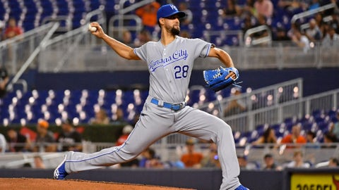 Sep 6, 2019; Miami, FL, USA; Kansas City Royals relief pitcher Jorge Lopez (28) delivers a pitch in the second inning against the Miami Marlins at Marlins Park. Mandatory Credit: Jasen Vinlove-USA TODAY Sports