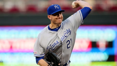 Kansas City Royals pitcher Mike Montgomery throws to a Minnesota Twins batter during the first inning of a baseball game Thursday, Sept. 19, 2019, in Minneapolis. (AP Photo/Jim Mone)