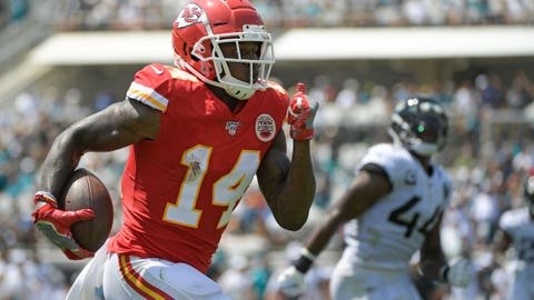 Kansas City Chiefs wide receiver Sammy Watkins (14) runs past Jacksonville Jaguars middle linebacker Myles Jack (44) for a 49-yard touchdown after a reception during the first half of an NFL football game Sunday, Sept. 8, 2019, in Jacksonville, Fla. (AP Photo/Phelan M. Ebenhack)