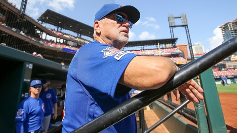 <p>               Chicago Cubs manager Joe Maddon looks out from the dugout prior to a baseball game against the St. Louis Cardinals, Sunday, Sept. 29, 2019, in St. Louis. (AP Photo/Scott Kane)             </p>