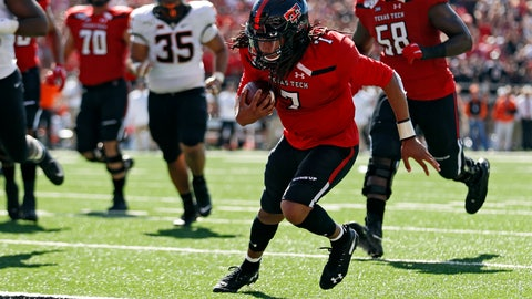 <p>               Texas Tech's Jett Duffey (7) scores a touchdown during the first half of an NCAA college football game against Oklahoma State, Saturday, Oct. 5, 2019, in Lubbock, Texas. (AP Photo/Brad Tollefson)             </p>